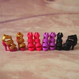 芭比娃娃松糕鞋鉚釘細高跟涼鞋 仿真皮 防水台羅馬綁帶女鞋