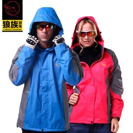 狼族 戶外防水防風保暖外套 抓絨單層衝鋒衣 登山服裝 男女情侶款