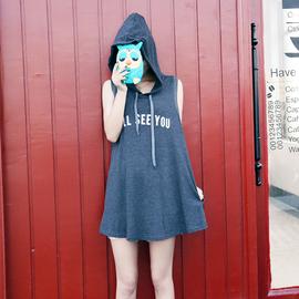 洋妞自制 2014  字母連帽無袖寬松t恤 A字形顯瘦女
