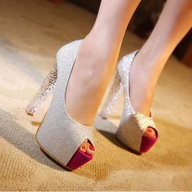 2014 性感超高跟鞋夜店14cm防水台魚嘴鞋水晶粗跟涼鞋拼色女鞋