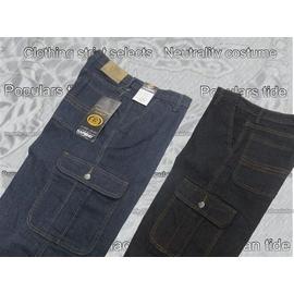 ~衣著 X中性服飾~~99~627~伸縮雙側袋中直筒牛仔褲M28^~6L42 7段腰圍