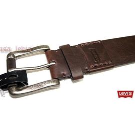 ~滾輪彎角金屬銀頭38腰 ~美國LEVIS 商標烙印皮革拼接手縫線咖啡棕色寬版皮帶 501