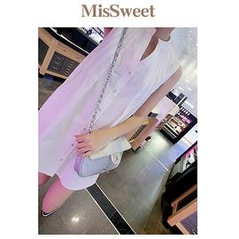 MisSweet ~BJ72H407Y~知性氣質 壓褶寬鬆下擺無袖小立領襯衫式連身洋裝^(