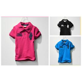 女童男童短袖t恤純棉春夏秋裝2014學院中大童兒童polo衫紅藍