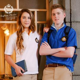 預售伊頓紀德英倫學院 男女童短袖T恤衫兒童純棉polo衫14T902