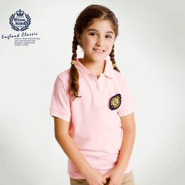 伊頓紀德英倫 女童學院短袖T恤兒童粉色POLO衫夏裝公主11T207