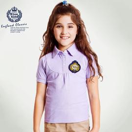 伊頓紀德英倫 女童紫色短袖T恤POLO衫 親膚透氣12T256