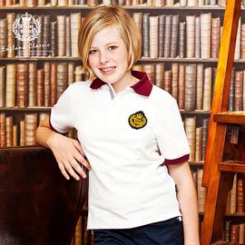 伊頓紀德 兒童男女童純棉白色短袖T恤polo衫 13T003