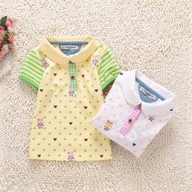 2014夏裝新品 女童 小熊圓點短袖T恤 兒童寶寶純棉polo衫