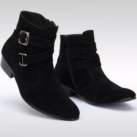 潮流高幫靴男靴 靴尖頭靴男磨砂 英倫馬丁靴子內增高跟皮靴