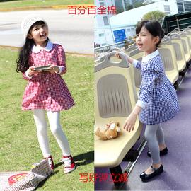 2014春款 女童圓領格子長袖連衣裙襯衣中小童純棉襯衫