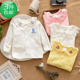 春秋裝 兒童寶寶女 純棉蕾絲襯衫白色長袖t恤打底衫襯衣