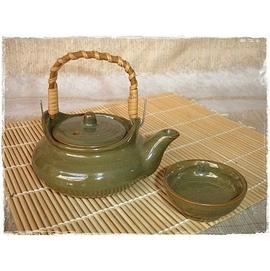^~佐和陶瓷餐具^~6001~日式土瓶蒸茶具組~綠、紅兩色