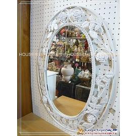 ^~︵House傢飾︵^~洗白鍛鐵玫瑰橢圓形掛鏡 ~~ 款 新發售~~