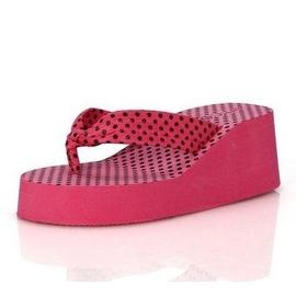 潮夏艾米拖鞋女式坡跟涼鞋夾腳人字拖布帶厚底松糕高跟沙灘拖