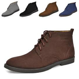 洛巴牛 反絨男鞋大碼高幫鞋男士棉鞋潮流 馬丁靴英倫男靴子
