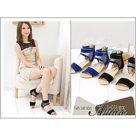 Amuro shoes ~AP9799~~現~  網狀繫踝低跟涼鞋 藍 黑