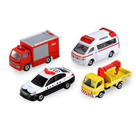 TOMICA 緊急車輛組 警車 消防車 救護車 道路救援車^(4入^) 4台套組 多美小汽