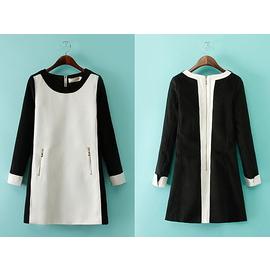 MixMiss~B03~外貿原單2014女裝黑白撞色拼接金屬拉鍊口袋百搭連衣裙1030