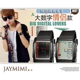 ~JAYMIMI傑米~ 雙顯示大數字情侶對錶 多 電子液晶冷光防水錶 350 兩支免