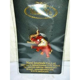 aaL皮. 附袋泰國製鍍金鑲鑽大象 別針 胸針 章 徽章 勳章吊飾!---值得收藏! 三