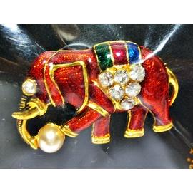 aaL皮. 附袋泰國製鍍金鑲鑽大象 別針 胸針 章 徽章 勳章吊飾!---值得收藏! 四