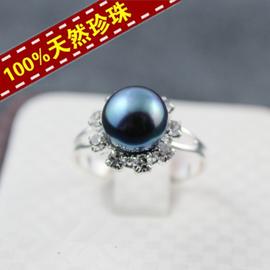 正品 天然淡水珍珠戒指 鑲鑽太陽花 可調節大小 開口戒托