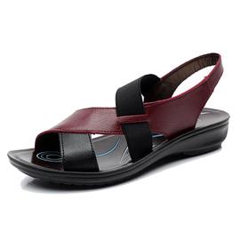 正品真皮女涼鞋防水臺平底中老年坡跟羅馬媽媽鞋老人皮鞋