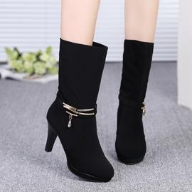 2014 女靴子 中筒靴高跟細跟中靴磨砂皮女式靴防水台短靴潮