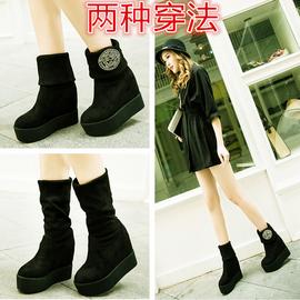 女鞋厚底松糕長筒靴女平底高跟內增高 冬 靴子長靴女式靴中靴