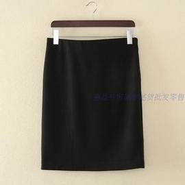麗晶外貿原單尾貨正品黑色長一步裙包臀裙職業裝春秋裙及膝裙大碼