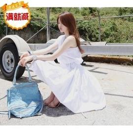 韓國partysu2014 斜肩連衣裙 露肩中長款白色裙子繫腰帶女裝