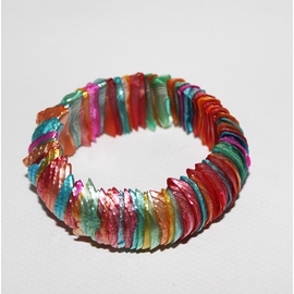 貝殼飾品 天然小海螺手鏈寬款 夜光螺片手串 女士多彩色手鐲