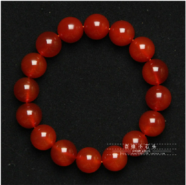 奇緣小石頭 天然冰種紅瑪瑙手鏈男女款本命年瑪瑙手串 紅水晶