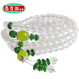 開光108顆白水晶佛珠手鏈 水晶飾品手串 旺運男女款