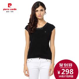 皮爾卡丹2014年 新品100^%純羊絨衫女圓領短袖女套衫毛衣針織衫