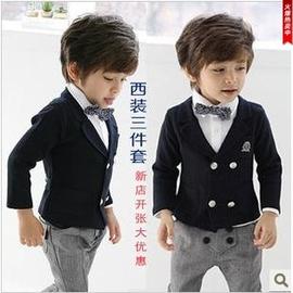 男童西裝禮服套裝兒童演出服 花童禮服男小主持人西服三件套