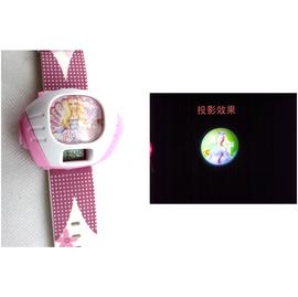 芭比娃娃電子型橡膠酒桶型數字投影卡通可愛童真學生女孩兒童手表