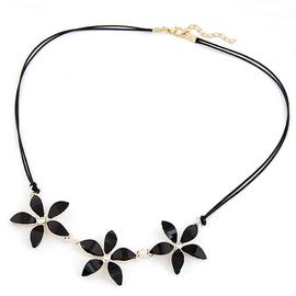 氣質寶石短款韓國配飾項鏈甜美女皮繩黑色花朵裝飾品鎖骨項鏈