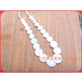 日韓 飾品天然貝殼女款白色圓片短項鏈七彩色珍珠貝母毛衣鏈