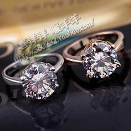 品牌專櫃正品首飾 六爪兩克拉火彩爆閃鋯石鑽戒求婚戒指環女