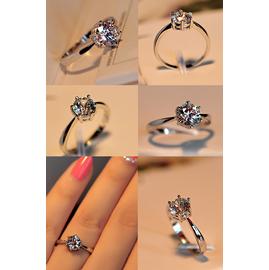 2014 潮人925純銀六爪鑲嵌瑞士鑽水鑽鋯石女款戒指