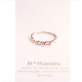 韓國正品直送 尾戒女 蝴蝶結鋯石簡約風玫瑰金小指中指戒指 指環