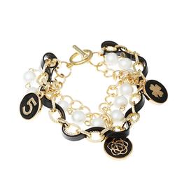 名朵飾品 黑金手鏈女 寬手鐲 皮繩水晶 韓國多層復古