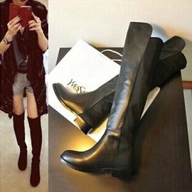 春秋 真皮女靴過膝長靴子中跟平跟高筒靴騎士靴長筒靴過膝