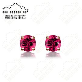 撒哈拉寶石 紅碧璽耳釘18K玫瑰金 彩色寶石耳環 女款