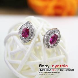 925純銀唯美水滴紅寶石耳釘女 氣質鑲鑽水晶耳環飾品生日