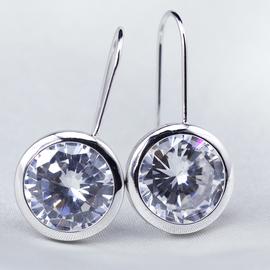 韓國 女耳環 水晶大鑽耳釘 防過敏耳墜 S925純銀耳針 掛鉤