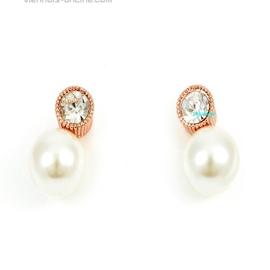 滿百包郵威妮華比拉正品水晶鑲嵌鍍金 珍珠鑽耳環