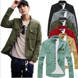 2014 春 裝夾克男 工裝外套男士軍綠色 夾克衫軍裝潮